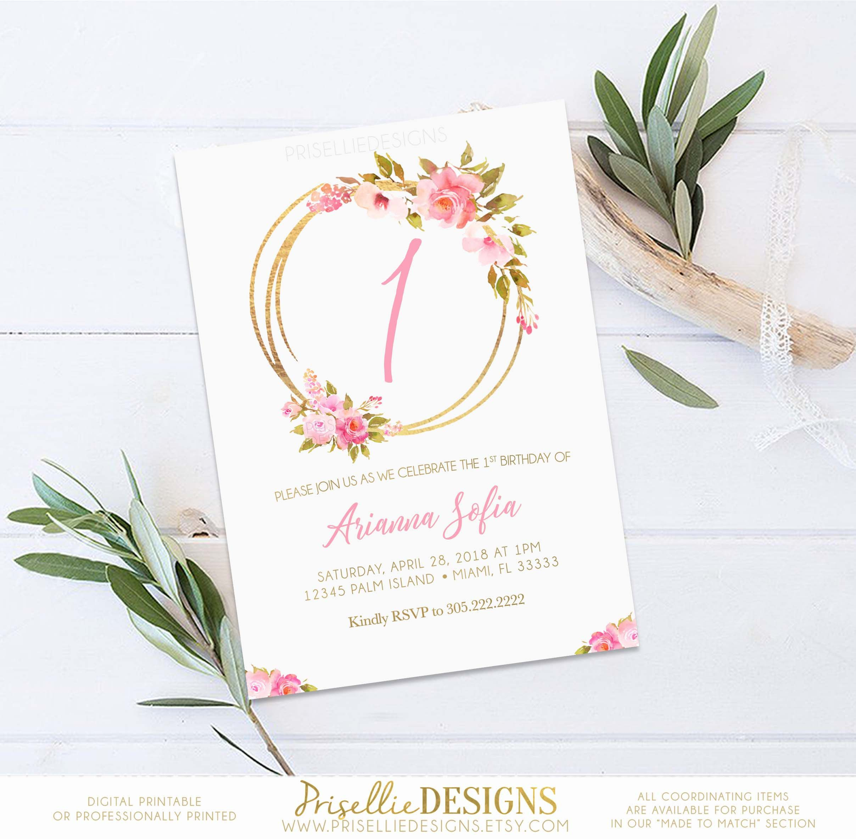 Floral Birthday Invitation, First 1st Birthday Girl Invitation, Boho ...