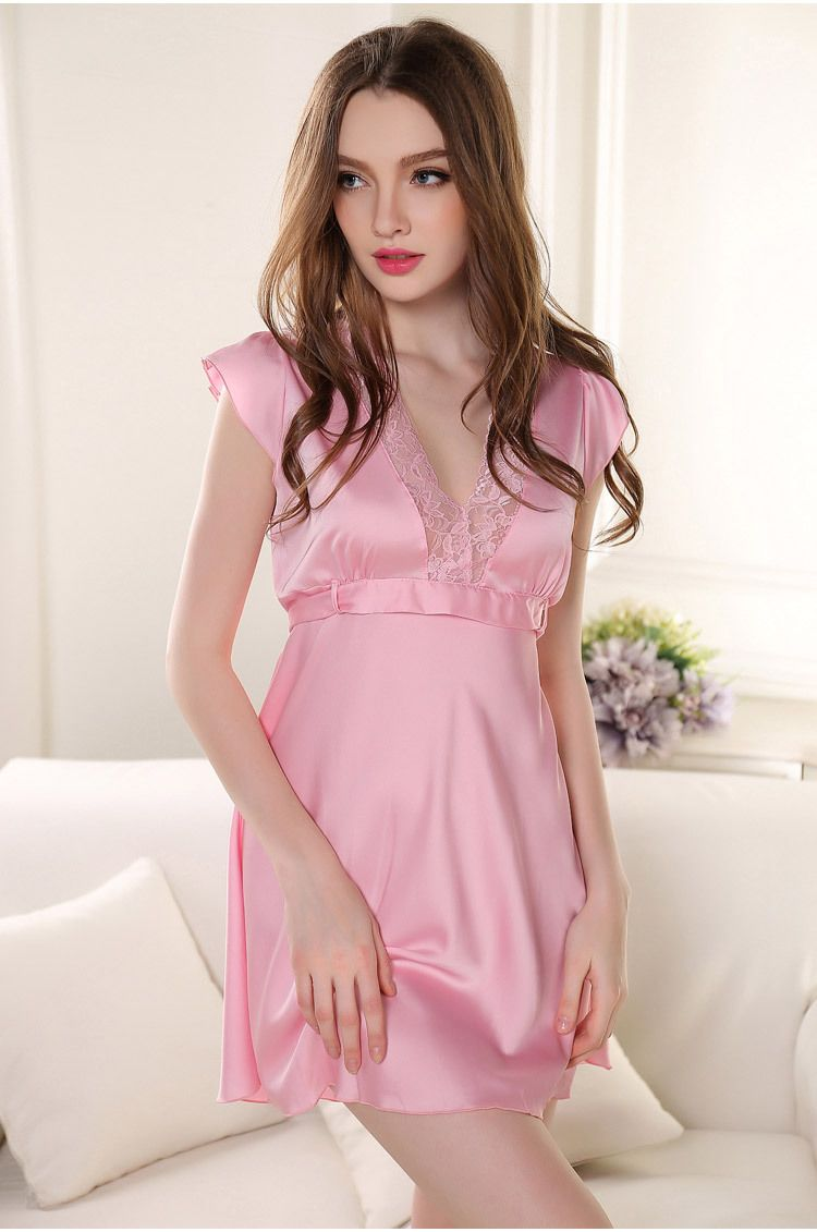 Sexy Lace Silk Satin Sleeveless Women Nightgown   Sleepshirt V-Neck Hot  ITC671. - Sleepwear   Robes 6c2e8b2d9