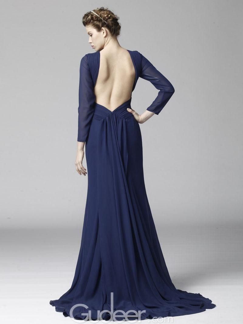 long sleeve open back high neck navy chiffon prom dress | Ball Gowns ...