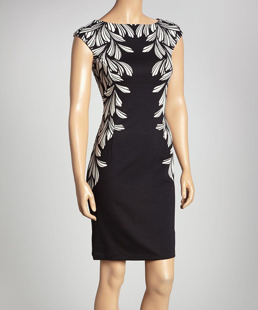 Black & Ivory In The Leaves Sheath Dress