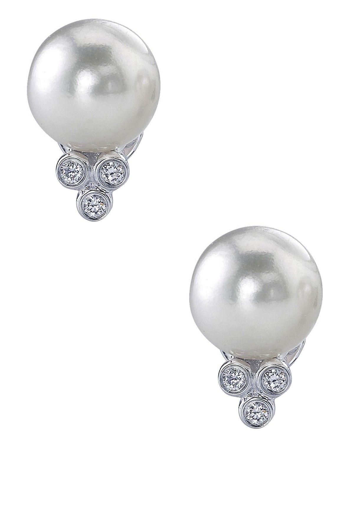 Akoya Pearl & Diamond Earrings Bridal Love Pinterest