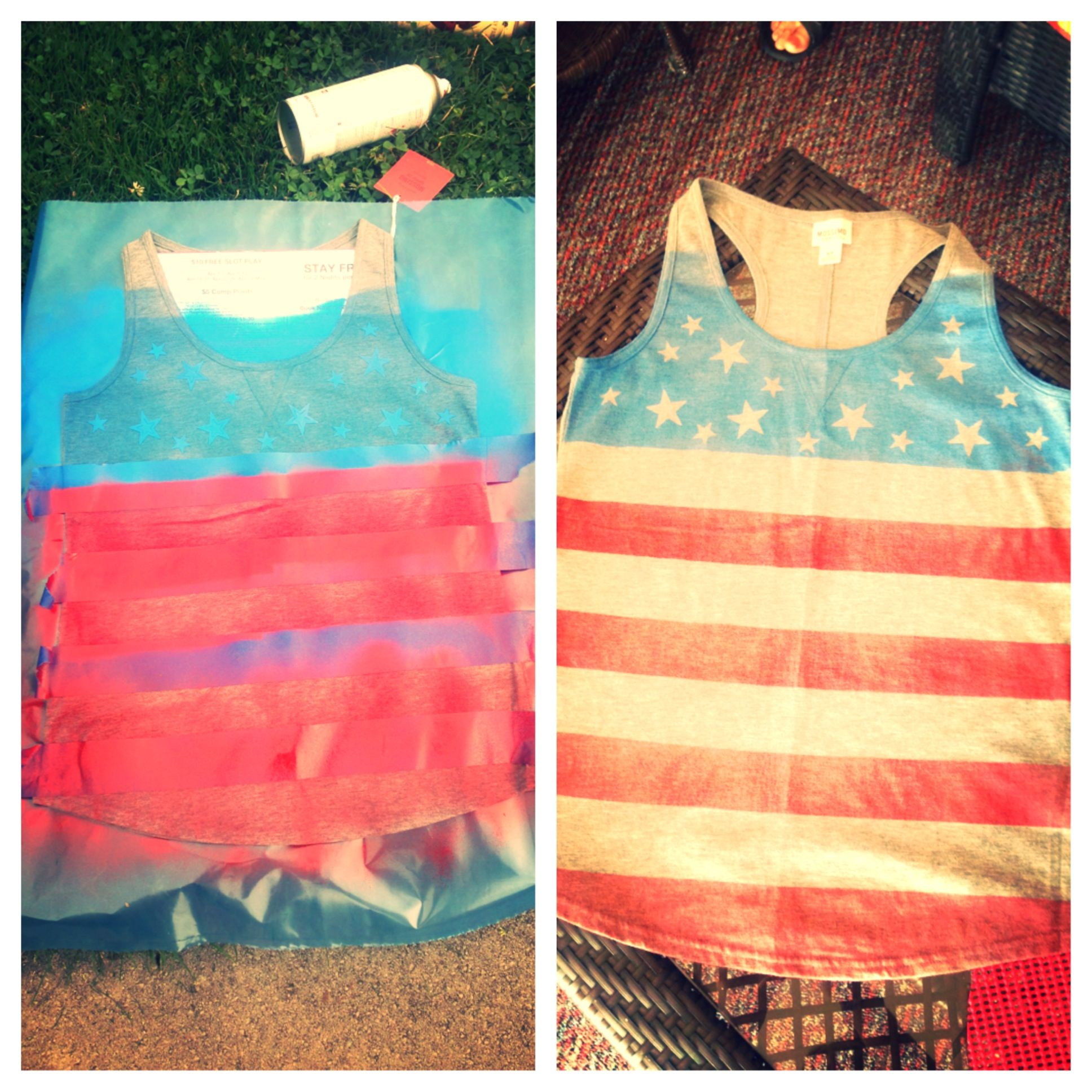 Diy Tank Simple Using Blue Painters Tape Create A Stripe Pattern From The Bust Area Down Using Spray Paint S Athletic Tank Tops Blue Spray Paint Diy Tank