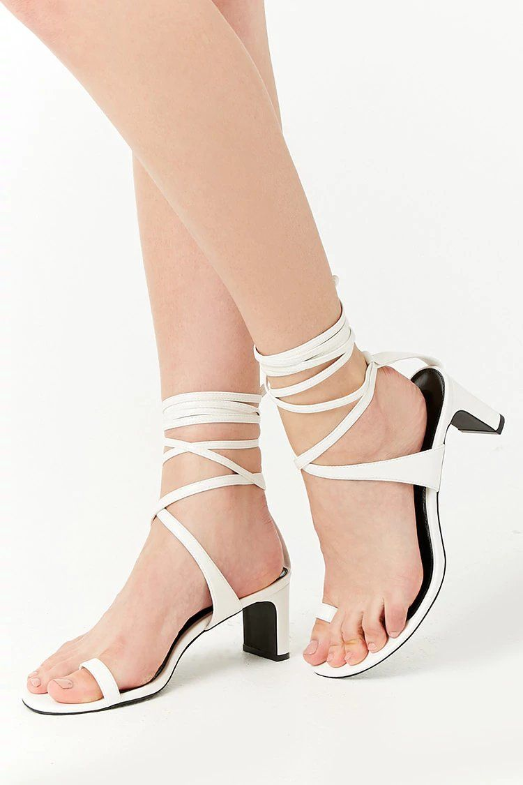 a2098f665467 Product Name Faux Leather Toe-Ring Wraparound Heels