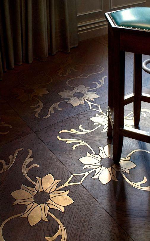 Wood floor with metal inlay Flooring Ideas Flooring