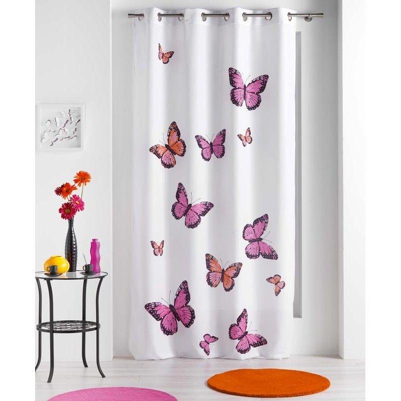Disponible Sur Maisondulinge.fr Rideau Occultant Papillons Bella Rose  140x240cm Meuble Salle De Bain,