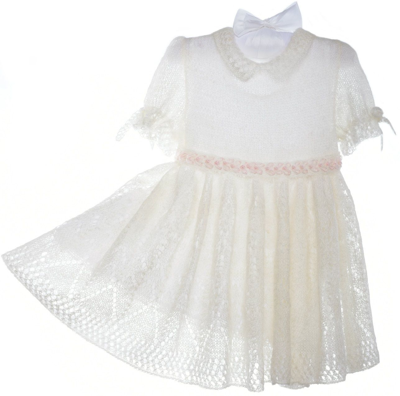 Knitted white lace mohair dress for little girl embroidered short