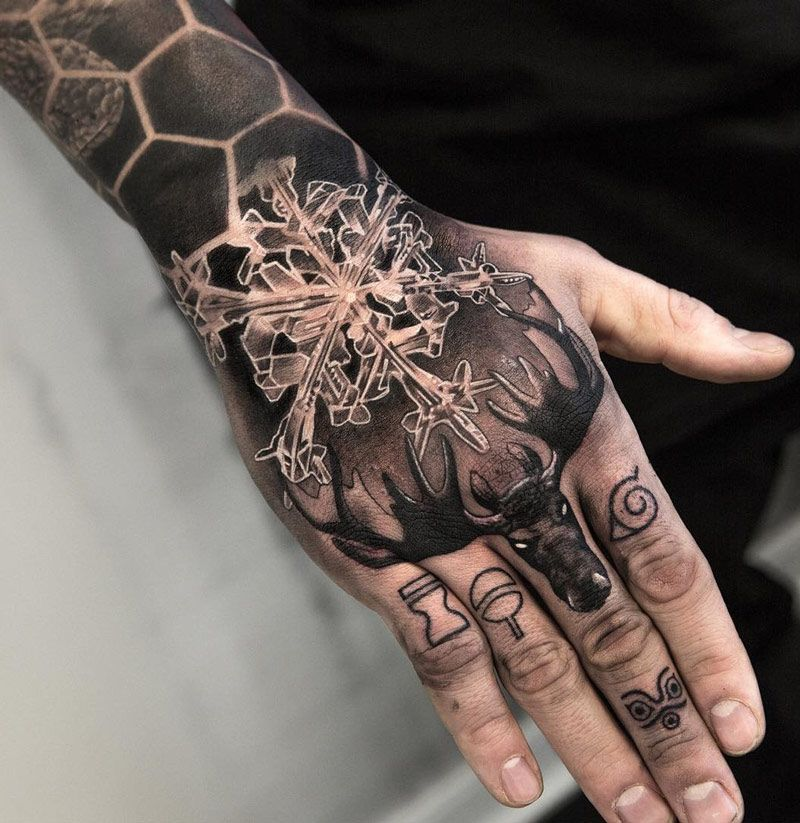 Moose  snowflake on wrist hand best tattoo ideas designs men also images pinterest in coolest rh