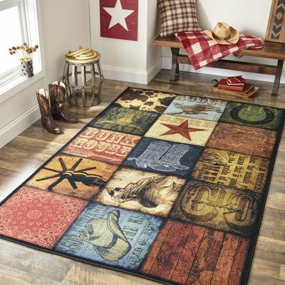 Millwood Pines Weinmann Cowboy Patches Brown Area Rug Rugs Area Rugs Mohawk Home
