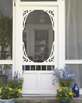 Perfect screen door. Make frame and use wooden brackets for the circle frame. Could be done.