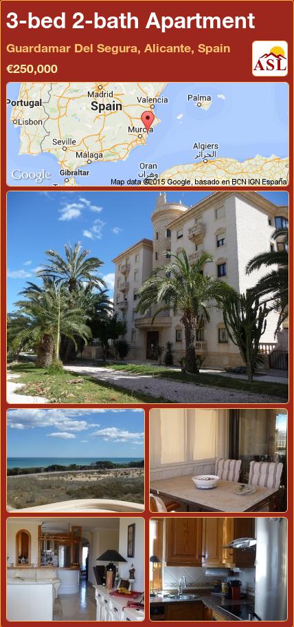 3-bed 2-bath Apartment in Guardamar Del Segura, Alicante, Spain ►€250,000 #PropertyForSaleInSpain