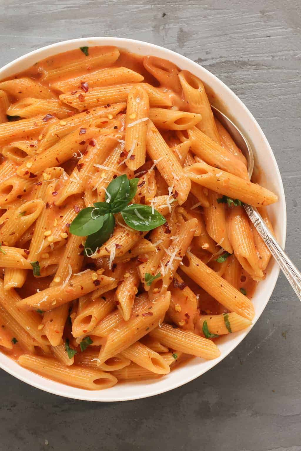 Pasta With Tomato Cream Sauce Using Instapot Ministry Of Curry Recipe Easy Pasta Tomato Cream Sauce Pasta Red Sauce Pasta Recipe