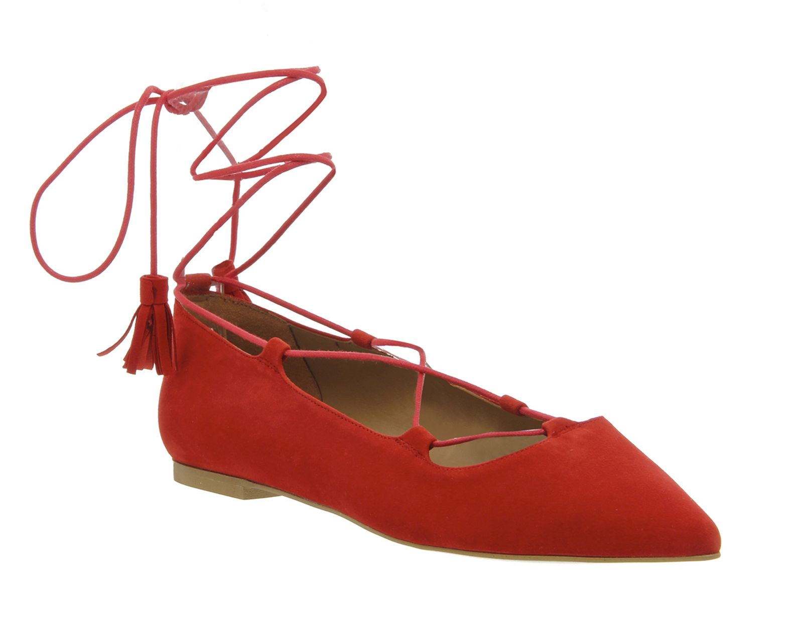 Buy Red Suede Office Low Down Lace Up Flats from OFFICE.co.uk ...