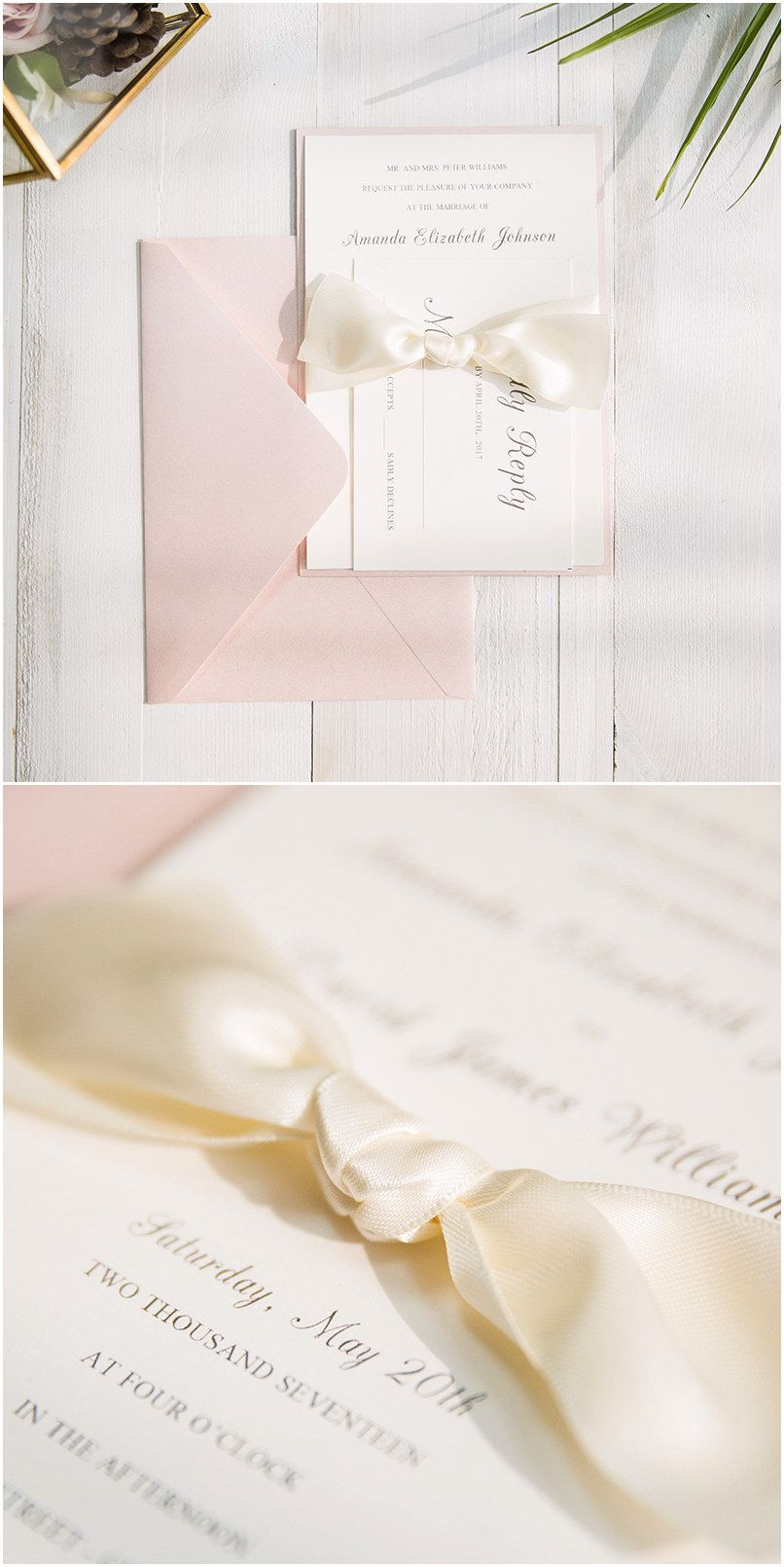 romantic pink layered wedding invitations with ivory ribbon SWWS046 ...