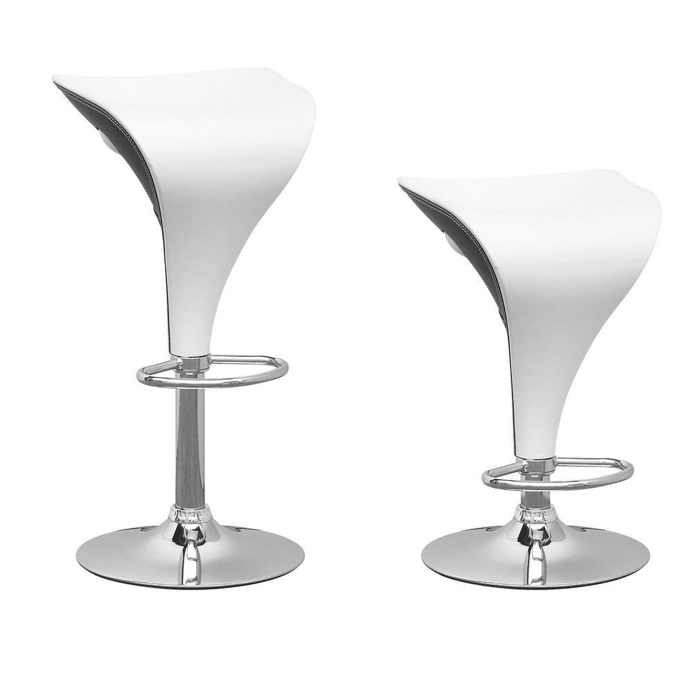 Backless Swivel Bar Stools Adjustable 2 Pc Set W Footrest Modern