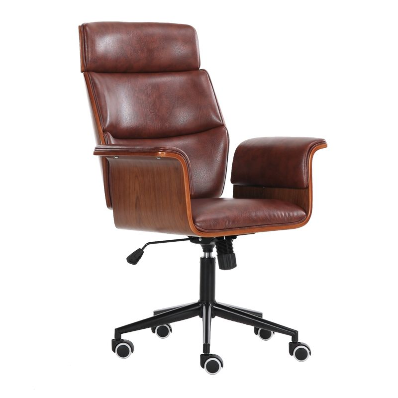 Mid Century Leather Tall Executive Office Chair With Wheel Racing Ergonomic Recliner