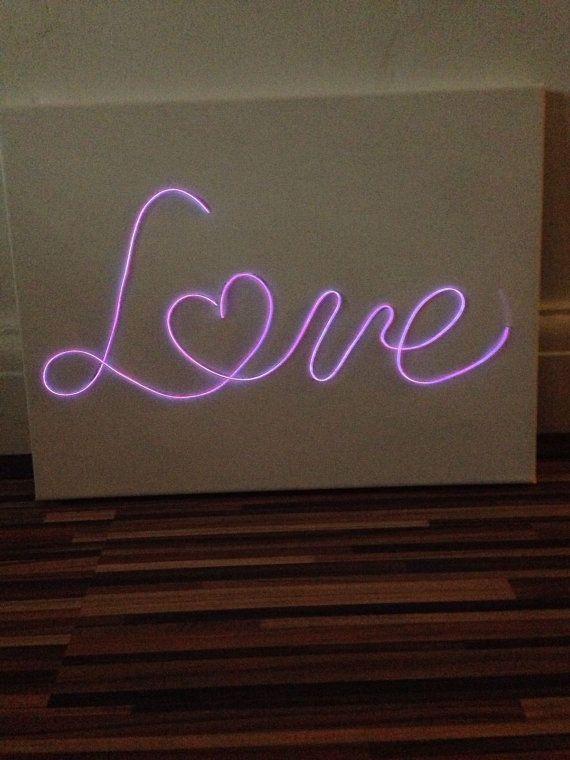 Handmade El Wire Sign Neon Sign Love Sign Canvas Neon Love