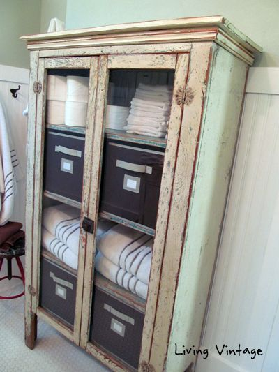 old chippy cabinet we use for bathroom storage - Living Vintage - Old Chippy Cabinet We Use For Bathroom Storage - Living Vintage