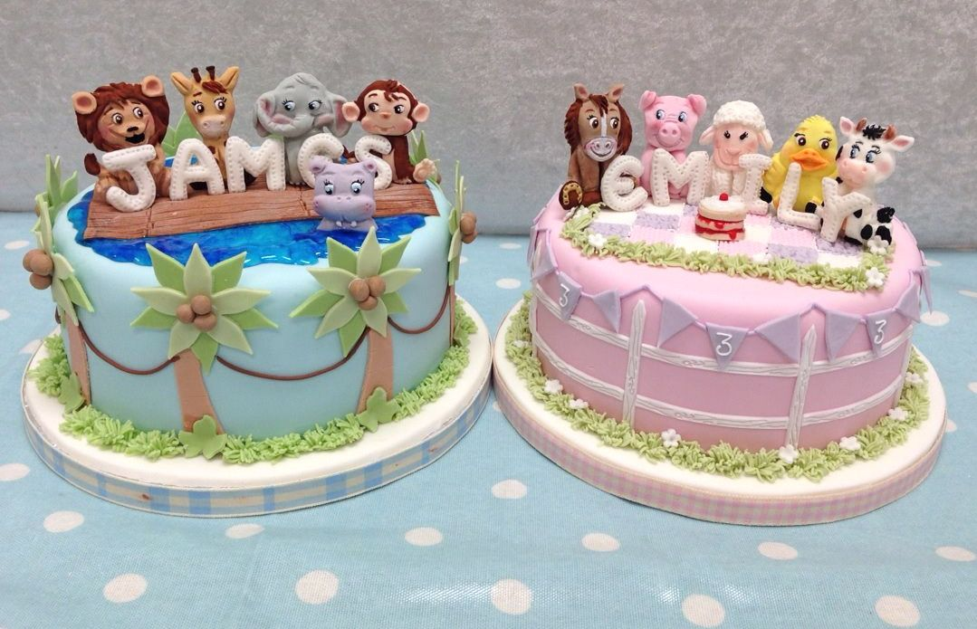 Two #childrens #cakes for Cake Decoration Heaven Magazine - full #tutorial will be in their Spring Issue 2015 #animals #cute #jungle #farm #mould #quick #easy #fun #boys #girls http://www.karendaviescakes.co.uk/product/243/Jungle-Animals-by-Alice/