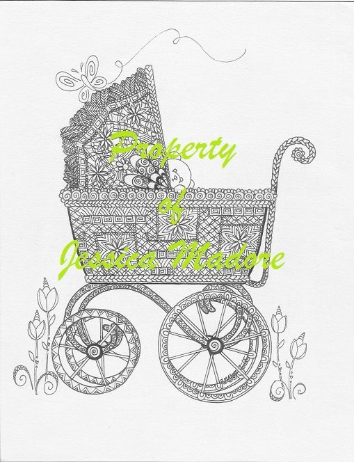 baby stroller carriage coloring page by jessiesjubilance on etsy