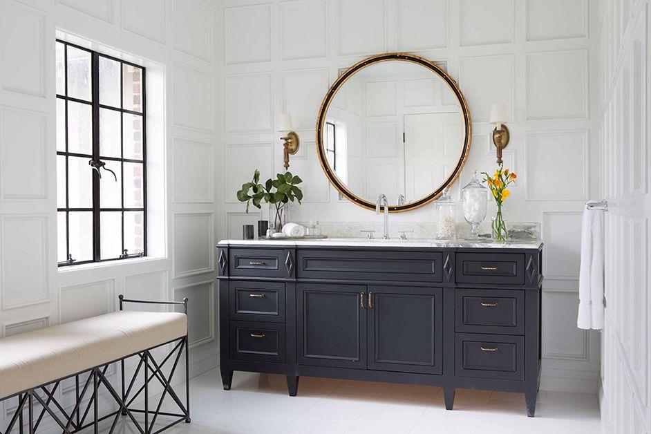 Dark Dresser Style Vanity Round Mirror Grid Paneling Stylish