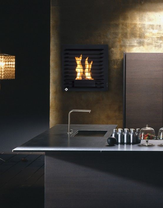 Unique Wall Mount Fireplaces by Aktys   DigsDigs ...