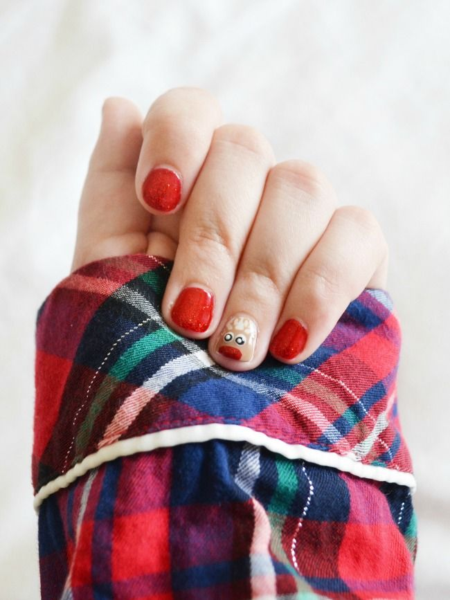 Easy Ways To Get Into The Holiday Spirit - Christmas Themed Nails With Rudolph The Red Nosed Reindeer!