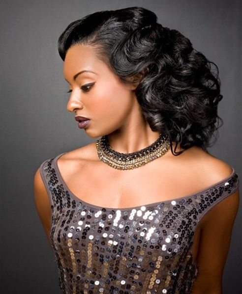 Prom Curly Hairstyles for African Americans | Long hair styles, Vintage hairstyles, African ...