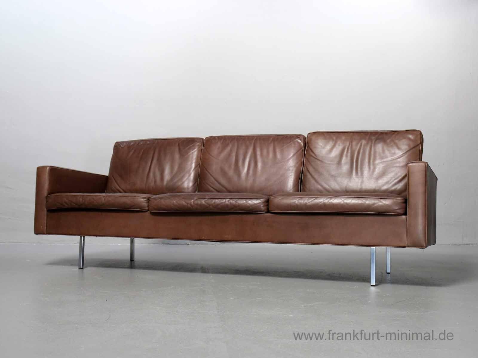 Florence Knoll 3 Sitzer Sofa 25 Bc Leder Braun Vintage Sessel