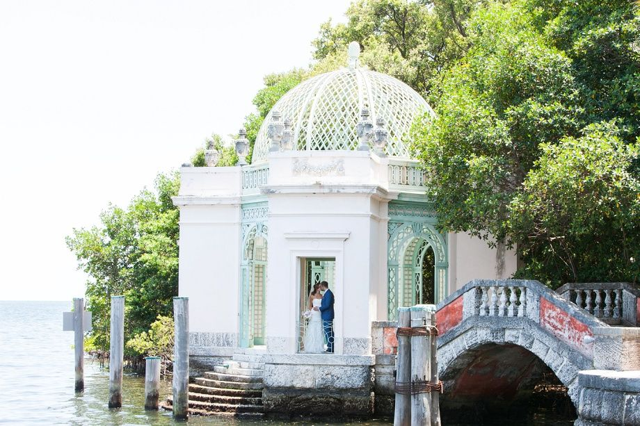 Intimate garden waterfront wedding ceremony in Miami by ...