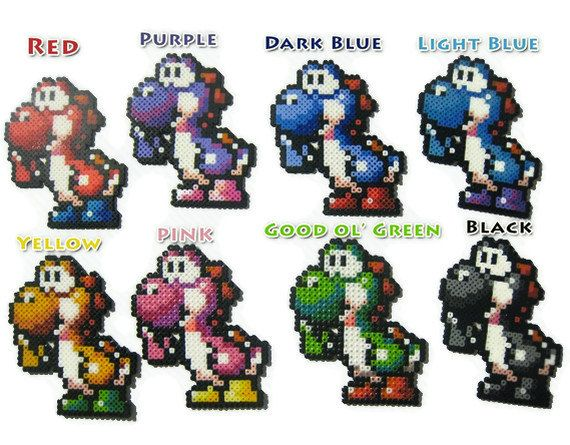 Your Choice of 1 Yoshi Perler Bead Sprite - Super Mario World 2. $5.00, via Etsy.