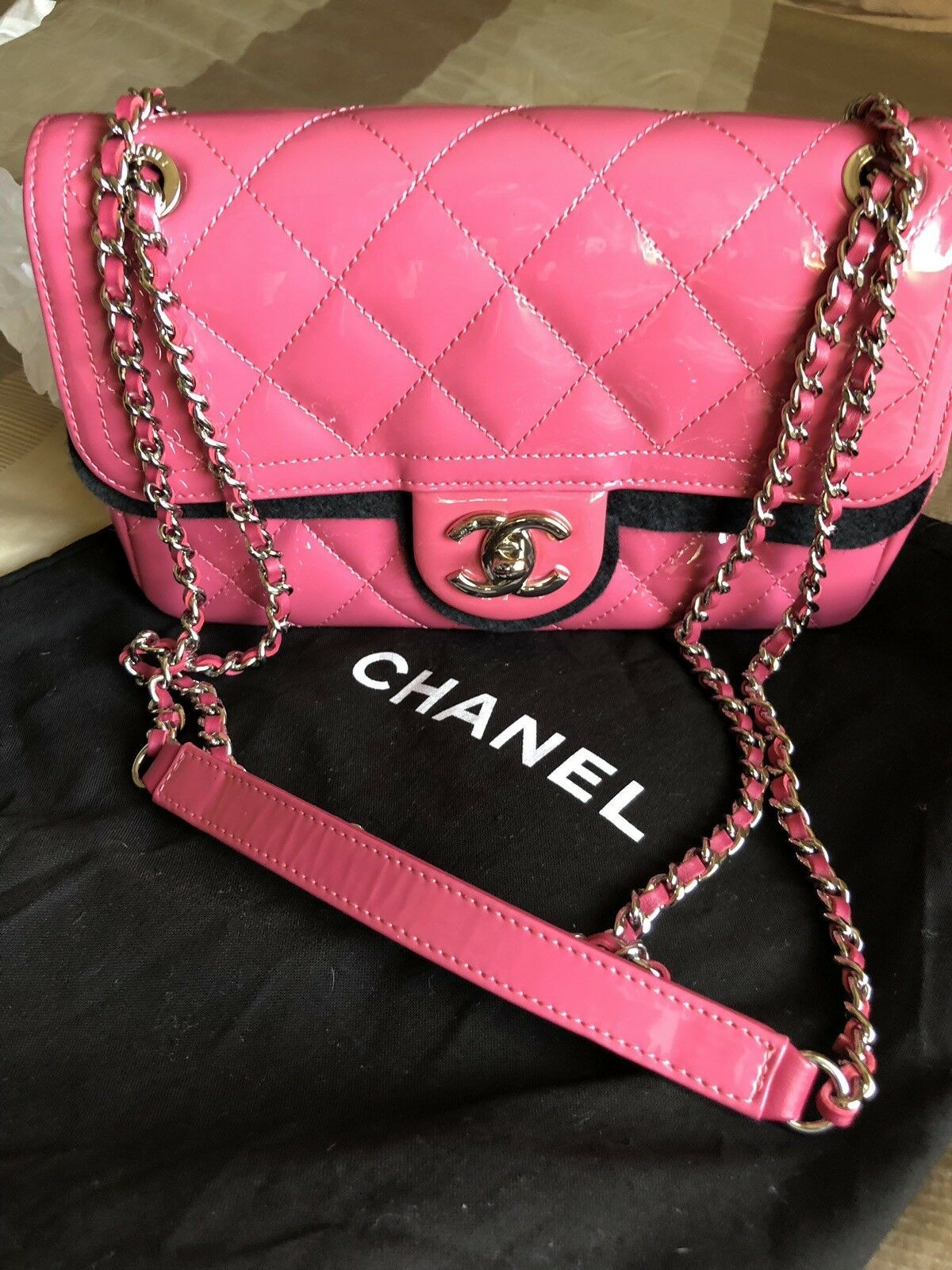 babd70b658a0ee Rare Chanel Patent Pink Mini Boy Small Classic Flap Cross Body Limited  Edition