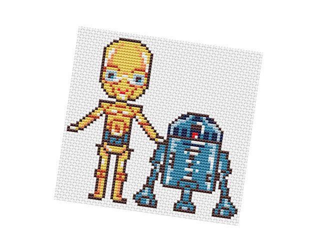 C-3PO and R2-D2 - Star Wars Pattern PDF by POWSTITCH   STAR WARS ...