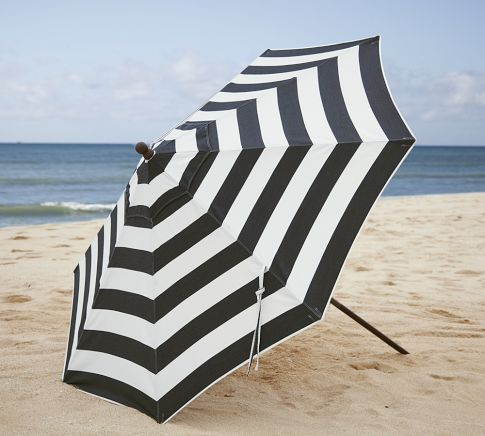 Sunbrella 174 Round Umbrella Black Amp White Stripe Pottery
