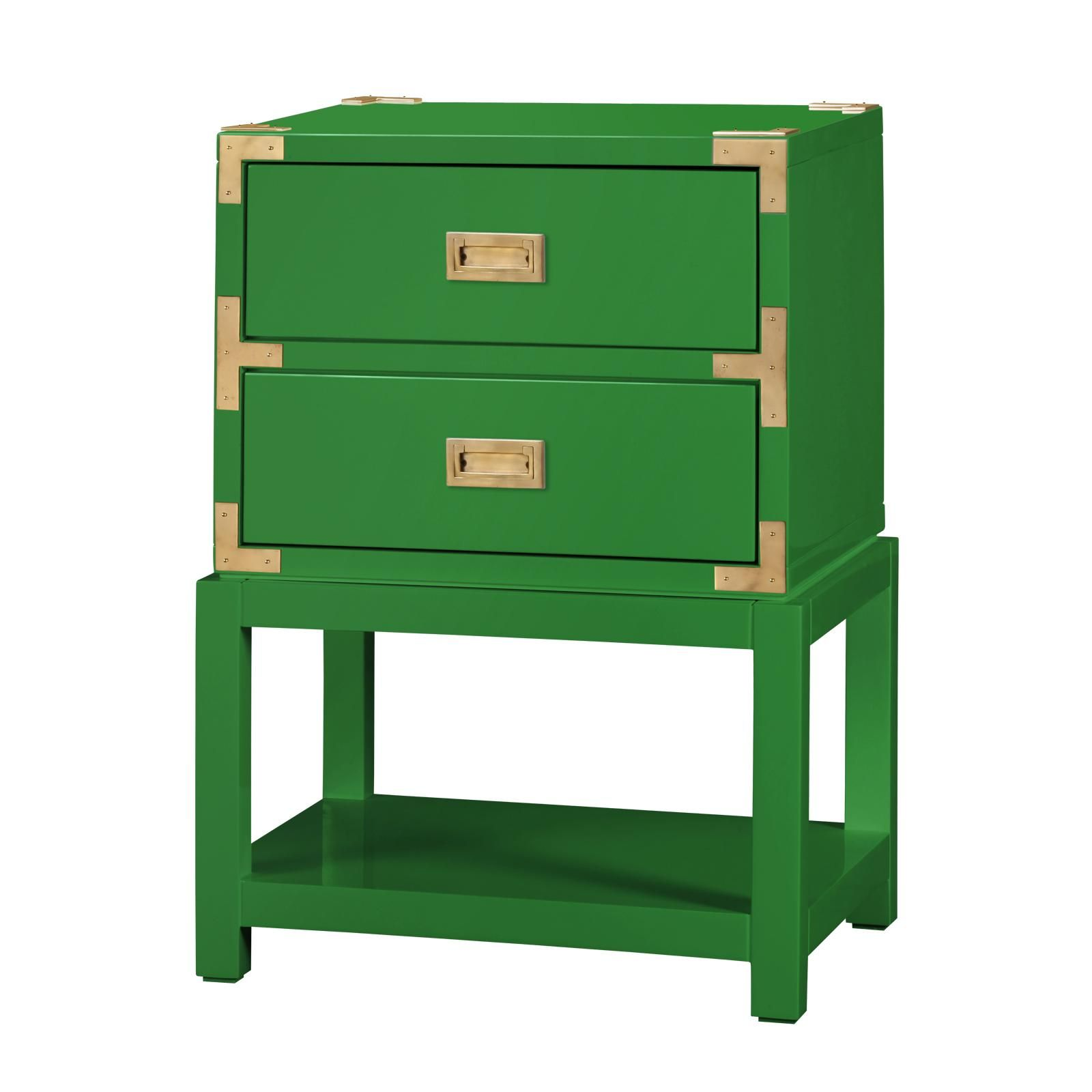Elegant Tansu 2 Drawer Side Table, Emerald Green   Bungalow 5