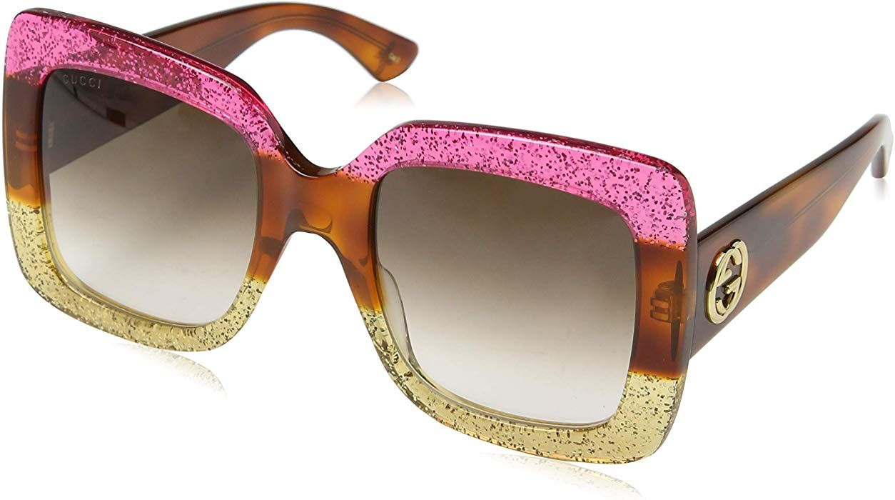 a80bce5046859 Amazon.com  Gucci 0083 002 Fuchsia Havana Gold Glitter GG0083S Sunglasses   Clothing