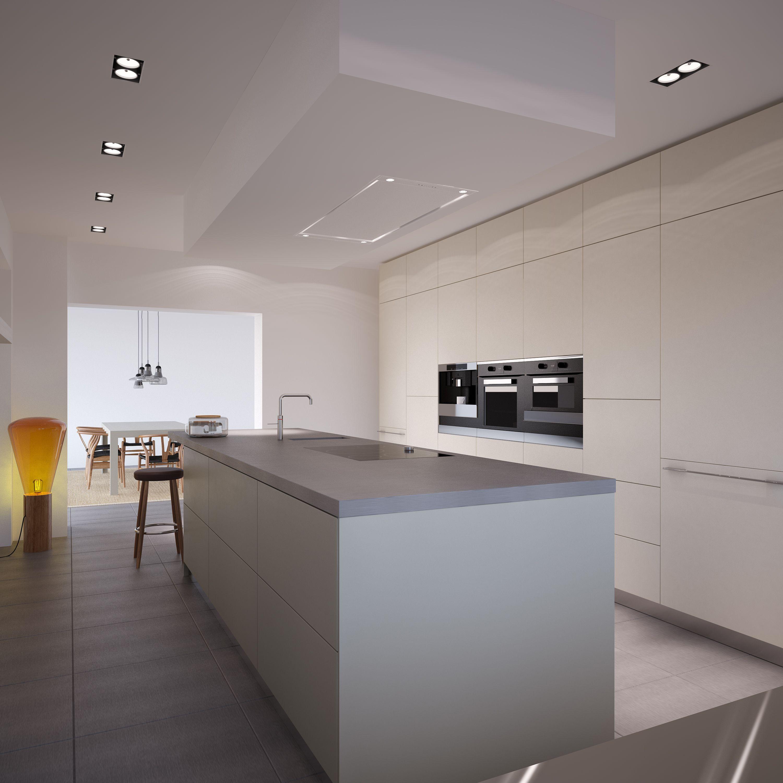 Kookeiland en kastenwand van bulthaup design keukens - Bulthaup beton ...