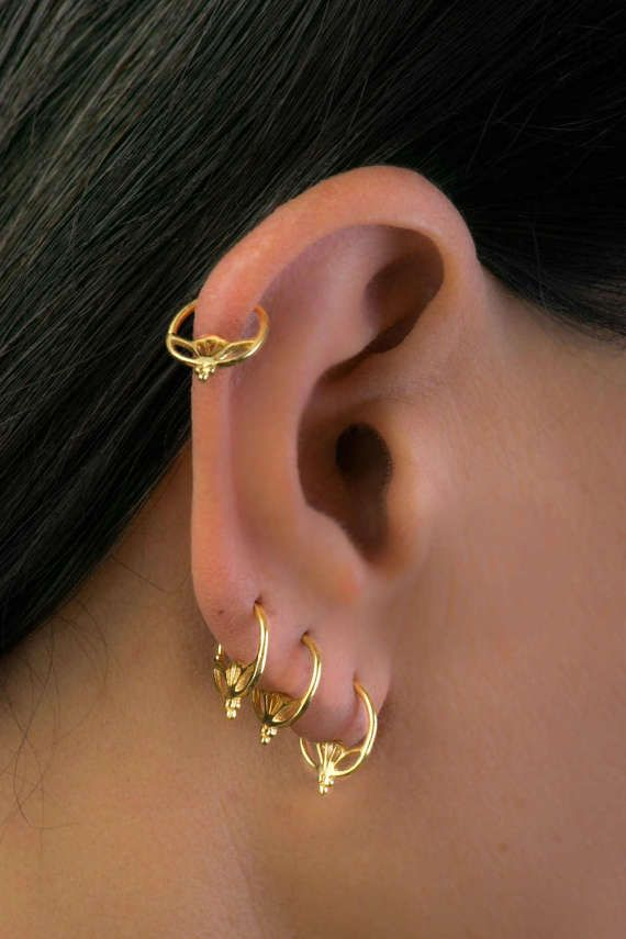Unique Tiny Gold Earring Set Hoop Indian Style Earrings Hippie Bohemian Small Cartilage Tribal Wearing One Is Lovely