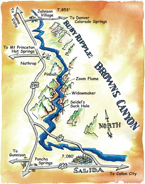 A Map of Brown's Canyon, one of the most popular trips on the