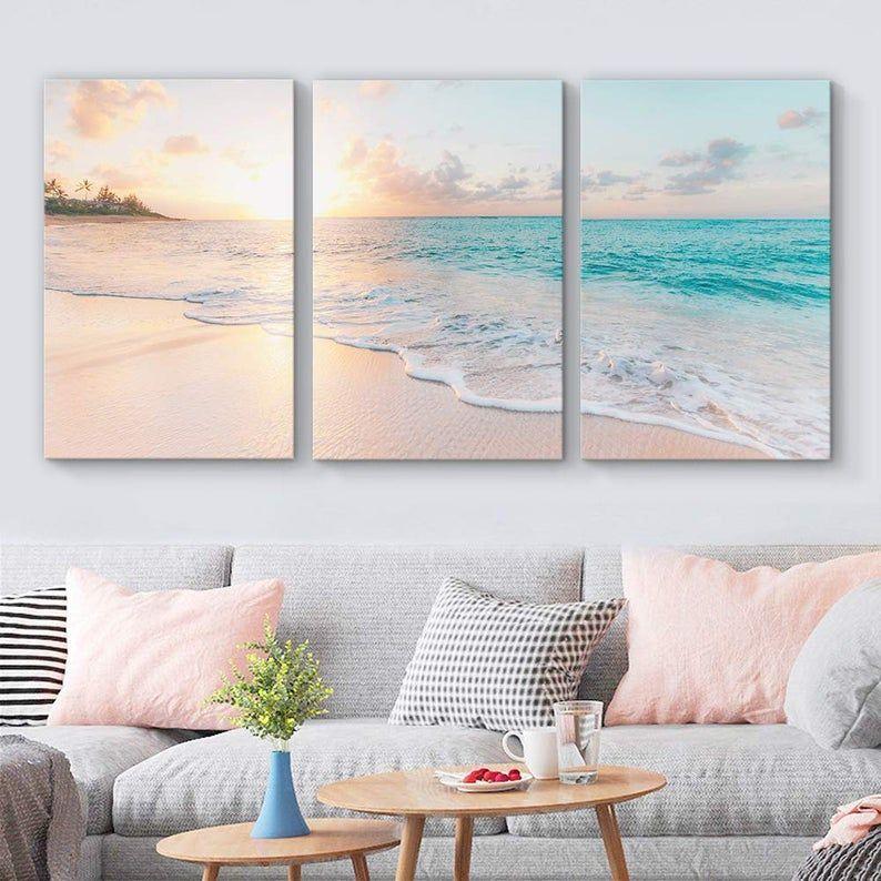 Wall26 Beach Wall Art Canvas Wall Art 3 Piece Wall Art Etsy In 2021 Living Room Canvas Living Room Art Artwork For Living Room