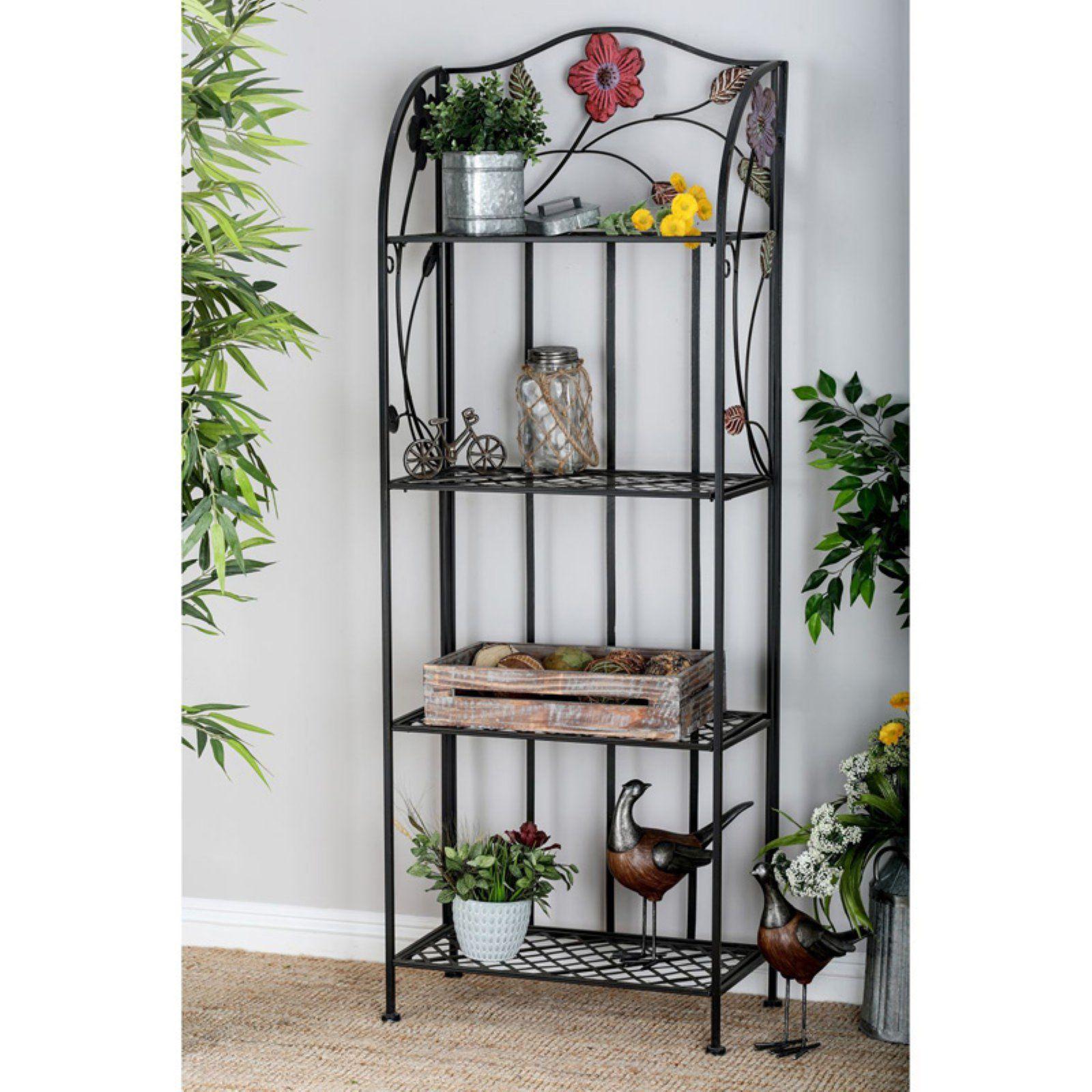 Decmode 4 Shelf Bakers Rack Floral Lifestyle Furniture