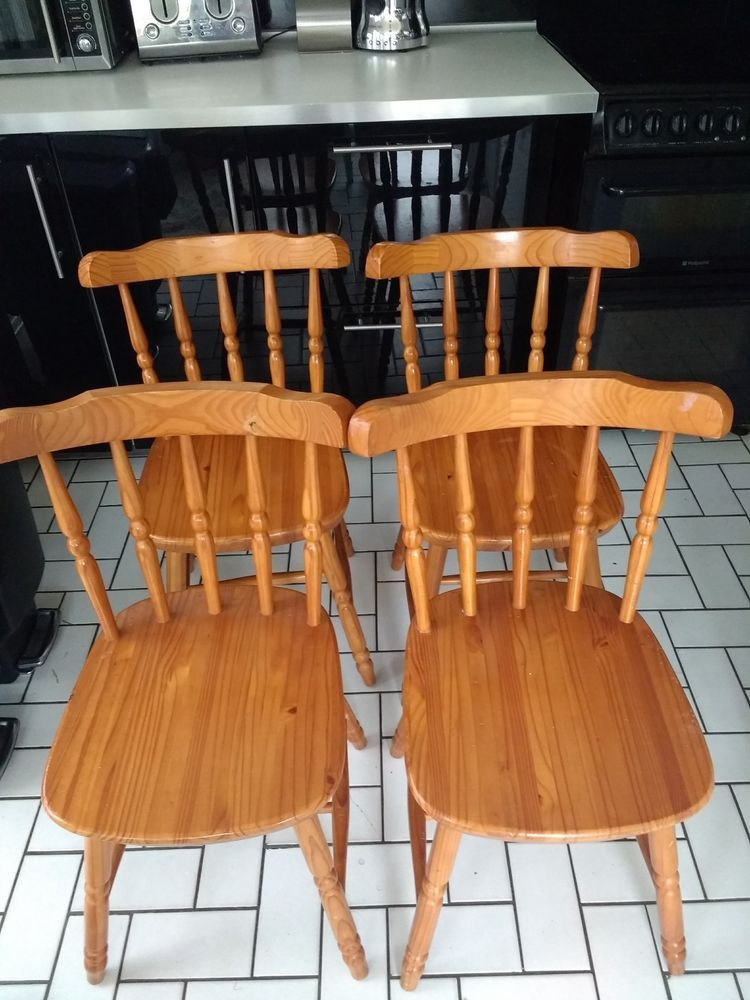 cottage style kitchen chairs transfer shower chair 4 x vintage solid pine sturdy ebay