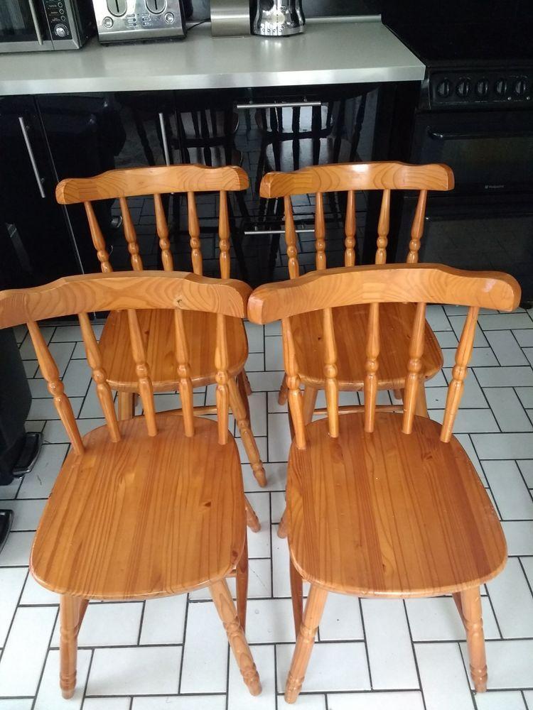 4 x vintage kitchen chairs cottage style solid pine sturdy ebay rh pinterest com