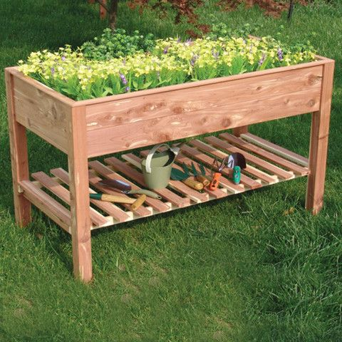 Raised Table Planter (Rectangle) with Shelf
