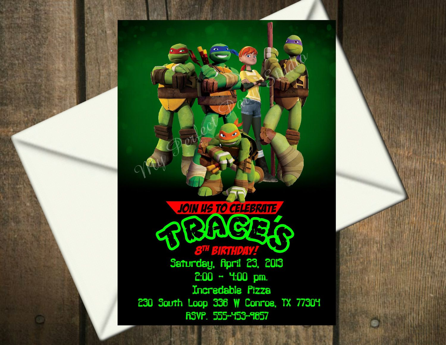 ninja turtles party invitations - Google Search | Maddox\'s 7th ...