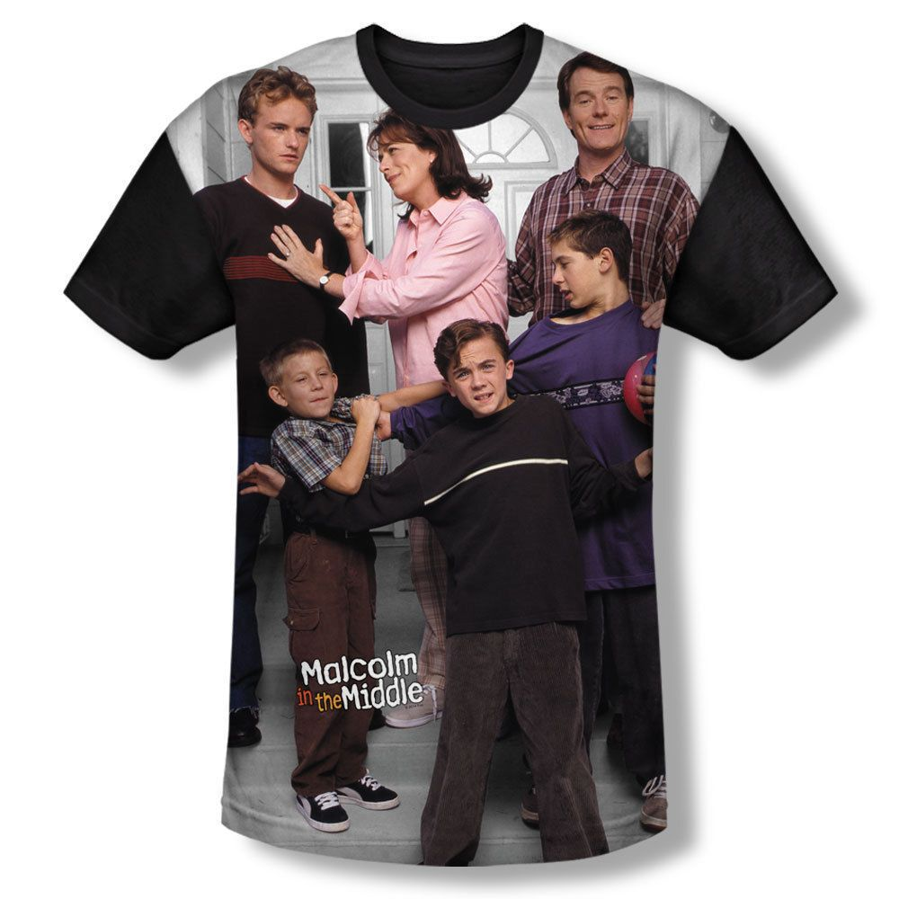 Malcolm In The Middle TV Show Family Portrait Photo All Over Front T-shirt Top Mens Sizes: S, M, L, XL, 2XL, 3XL