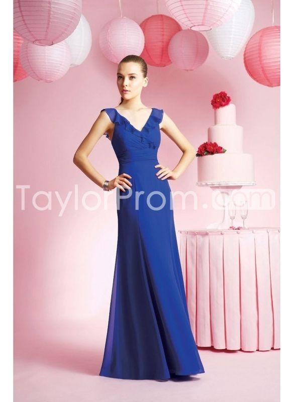 Chiffon Sexy V-neck with Falbala Decoration in Slim A line Skirt Custom Made Bridesmaid Dress BM-0153