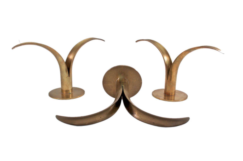 Vintage mid century modern ystad brass candleholders brass