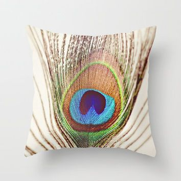Peacock Throw Pillow by Laura Ruth $20.00 from Society6