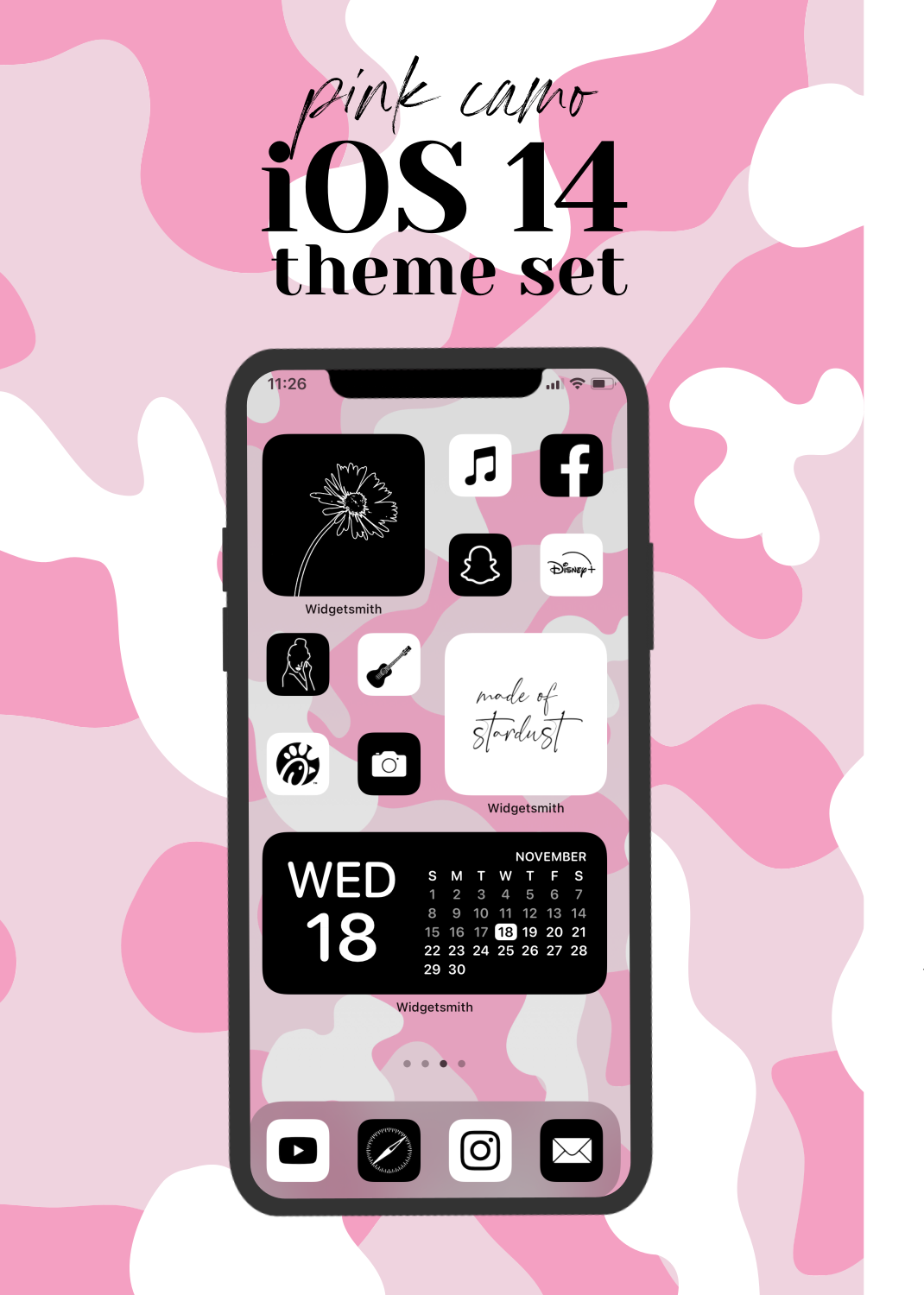 Ios 14 Icons Black And White Ios14 Pink Aesthetic White Etsy Pink Camo App Covers Facetime