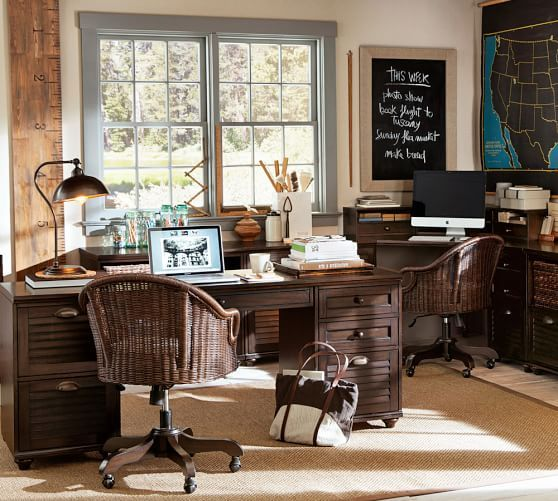 Whitney Rectangular Desk Set, 1 Desktop U0026 2 2 Drawer File, Heritage  Espresso Stain | Home Office | Pinterest | Barn And Desks